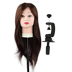 """Besmall 90% Training Model Head Model Mannequin Head for Salon Practice Long Hair Hairdressing 24"""" Hair Long with Clamp Dye Colour Perm"""