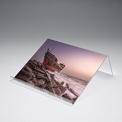 Buchstütze mit Motivdruck 'Wrack' | Buchständer | iPad-Stütze | Warenstütze | Acrylhalter | Warenträger aus Acrylglas | Werbeaufsteller, Größe:30x25x12 cm