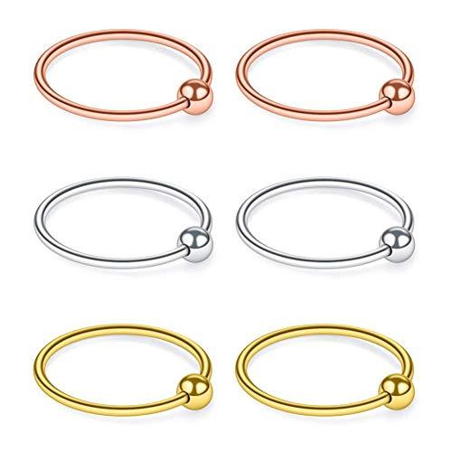 AceFun 20G 0.8mm Helix Piercings Hoop Ring Tragus Ohrring Septum Nasenpiercing Ring Lippenpiercing Chirurgenstahl Körperschmuck 6STK - Fake Captive Bead Rings