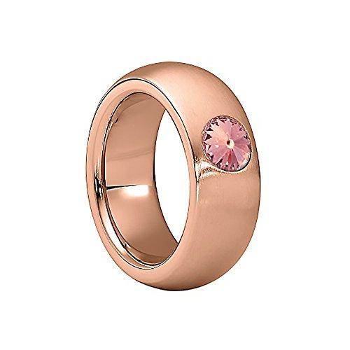 Heideman Damen Ring coma Schmuckring Fashionring rosegold vergoldet aus Edelstahl mit Stein hell rosa von Swarovski | Ringgröße: 60 (Rosa Edelstein Ring)