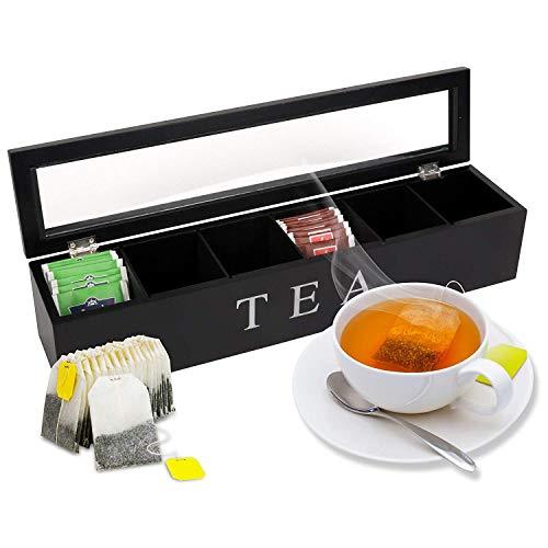 Oramics Teebox mit 6 oder 9 Fächern in Weiß oder Schwarz im edlen Holzdesign Teekiste Tee Aufbewahrung (Schwarz, 6 Fächer)