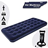 NHR Bestway Airbeds Flocked Inflation Indoor Air Mattress with Inflation Pump, Navy Blue