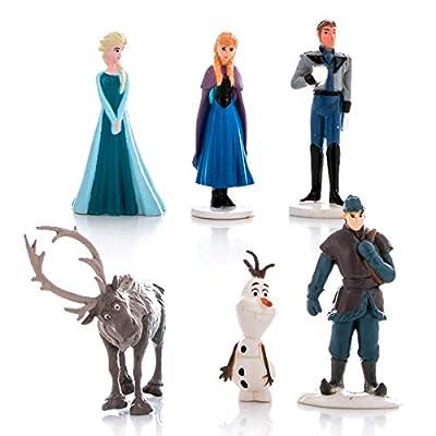 Set 6 Mini Figuras 4cm Frozen Anna Elsa Olaf Sven Kristoff Hans Original Disney también para Pastel Cake Toppers por Frozen Disney Mistery Eggs