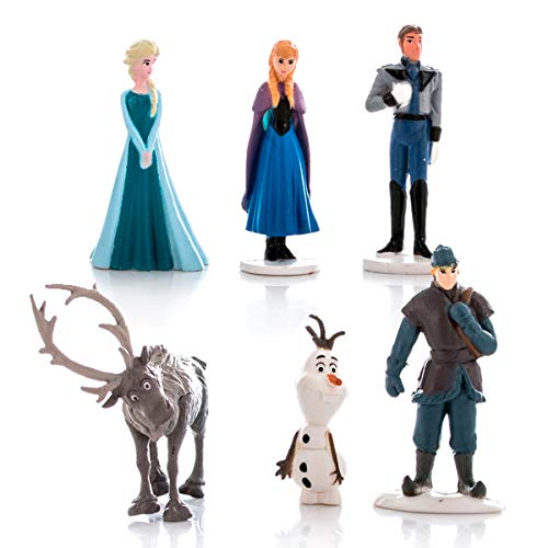 Set 6 Mini-Figuren 4cm Frozen Anna ELSA Olaf Sven Kristoff Hans Originals Disney Auch für Torte Cake Topper -