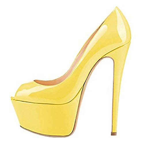 MERUMOTE - Scarpe con Plateau donna Yellow-Patent