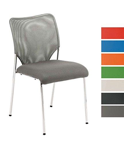 CLP Stapel-Stuhl KLINT, Konferenzstuhl / Besucherstuhl, Netzbezug, gepolstert grau