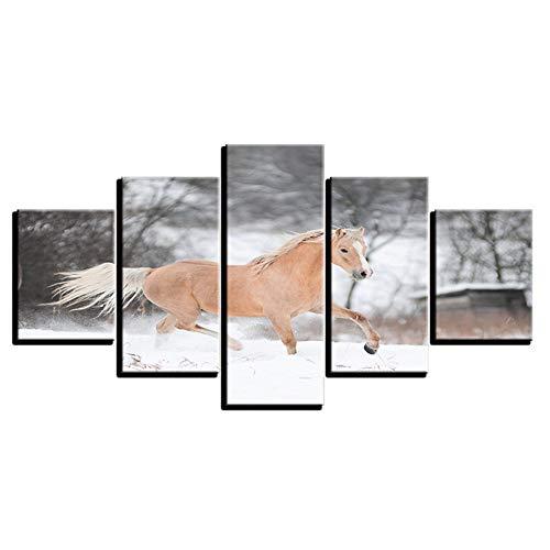 Aliworte Innen- Home Öl Gemälde Auf Leinwand Für Art Wandbild Dekoration Modernes Leinwand DIY 5 Pcs/Set Schnee Tierpferd Frameless 100x40 80x40 60x40(cm) - 1315 Tintenstrahl