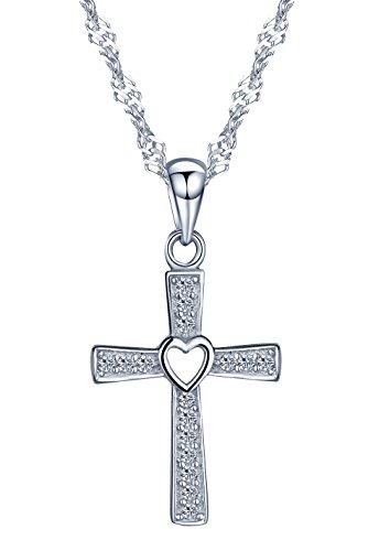 h Kreuz Herz Damen Halskette 925 Sterling Silber Zirkonia Anhänger Kette mit Anhänger, Silber/Rosegold (Silber) (Herz Kreuz Halskette)