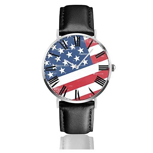 PecoStar The U.S. Flag Herren-/Damen-Armbanduhr, schwarz, ultradünn, wasserdicht, Leder-Armbanduhr, luxuriös, Business-Stil, lässig, Schlichtes Kleid, klassisch, analog, Quarzuhr - Us-indoor-flag