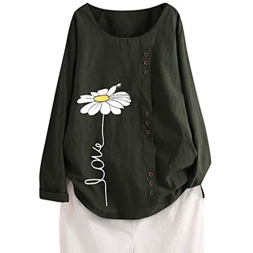 OUICE Femme Chemise Mode Simple Couleur Loose Boutonné Coton Lin Motif d'impression Top T-Shirt Long Blouse