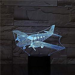 3D Avion Lampe Illusion Optique LED Veilleuse Optiques Illusions Lampe de Nuit 7 Couleurs Tactile Lampe de Chevet Chambre Table Art Déco Enfant Lumière de Nuit avec Cable USB