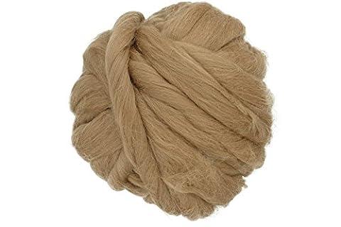 Charmkey Naturel doux Super gras Grosse géant Couverture 100% laine Mérinos TOPS Extreme Bras à tricoter Fil Fibre de soie rotatifs pour Mega Coussin Oreiller, 992,2gram/1kilogram Tabacco Brown
