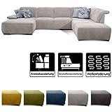 CAVADORE Wohnlandschaft Tabagos / U-Form mit Ottomane rechts / XXL Sofa mit Sitztiefenverstellung / Armteilfunktion / 364x85x248 / Grau-Weiß