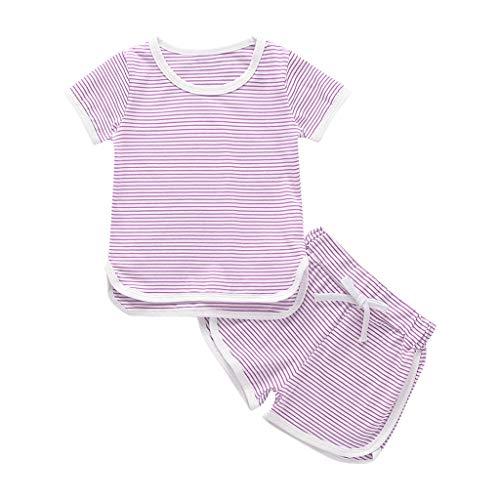 LEXUPE Kleinkind Kinder Baby Mädchen Jungen Streifen Tops T-Shirt Shorts Pyjama Pjs Kleidung Set(Lila,110)