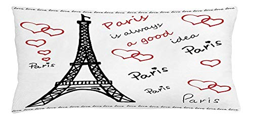 illow Cushion Cover, Eiffel Paris is Always a Good Idea Tourism Locations Love Valentine's, Decorative Square Accent Pillow Case, 18 X 18 inches, Red Black White ()