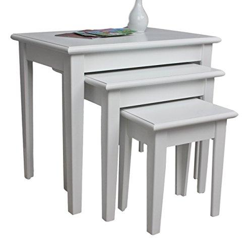 elbmöbel 3x Tisch Beistelltisch antik weiß Landhaus Shabby Chic Nachttisch SET Konsole