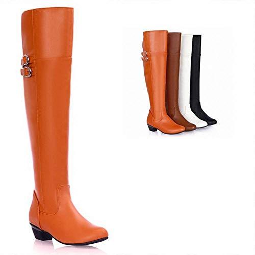 XDX Herbst Und Winter Frauen Stiefel - High Tube Slim Frauen Stiefel/Reißverschluss Low-Heel Stretch Über Die Knie Stiefel/Große Frauen Stiefel,Orange,42 Low Heel Stretch-heels