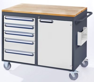 RAU Werkbank, fahrbar - 5 Schubladen, 1 Tür, Holzarbeitsfläche, lichtgrau / enzianblau - Fahrbare Werkbänke Werkbänke, fahrbar Fahrbare Werkbänke Werkbänke, fahrbar - 2