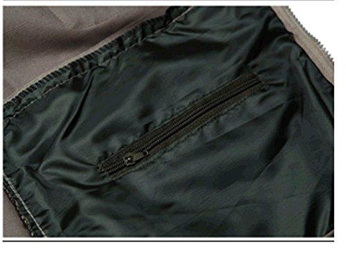 WS668 Herren Mehrfachtasche Reißverschluss Ärmellose Jacke Baumwolle Verdeckt Tragen Weste Classic Mens Cargo Coats 18#-Khaki