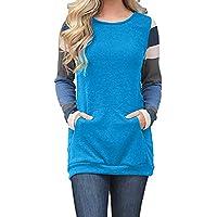 Qmber Damen Shirts Sweatshirts Pullover Tees Tops Oberteile Oversize Pulli Hoodie Elegant Hemden Langarm Blusen Tuniken, Farbblock-Tunika-Kängurutasche