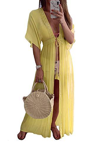 Gelber Kimono (Zilcremo Damen Strand Bikini Cover Up Badeanzug Kimono Sommer MaxiKleid Lang Boho Kleid gelb M)