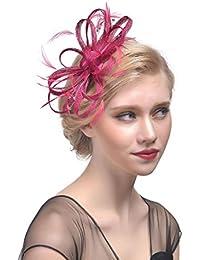 DUUMY Femmes 2017 mode nouveau fil de plumes coiffe de mariée avec des pinces à cheveux fleur de forage accessoires pour cheveux faits à la main des bijoux de mariage , deep plum red