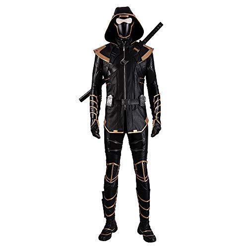 QWEASZER Avengers 4 Hawkeye Krieger Zentai Strumpfhose Ronin Cosplay Kostüm Maske, Weste, Handschuhe, Hemd, Hose, Schuhe Halloween Film Kostüm Kostüm Requisiten,Black-M (Krieger Kostüm Weste)