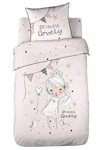COTE DECO KIDS Love Princess Housse de Couette 100% Coton - 140x200 cm avec 1 taie 63x63 cm
