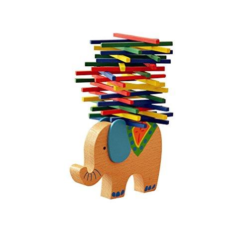 Natureich Elefant Montessori Stapel Spielzeug aus Holz Zum Geschicklichkeit Lernen mit Stäbchen...