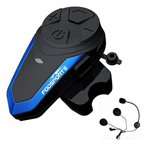 Fodsports Intercomunicador Casco Moto BT-S3 Bluetooth Cascos Moto Telefono Radio FM Impermeable Bluetooth Intercom Headset con tipo C (1 Packs of Hard Headphone)