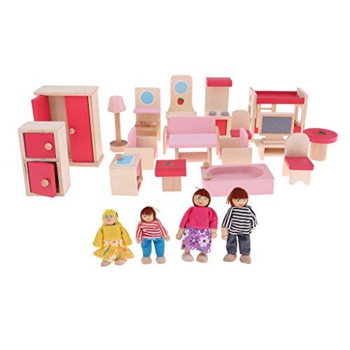MagiDeal Puppenhaus Miniatur Holz Möbel mit Minipuppen Spielzeug Set für Kinder Rollenspiel - # Puppenhausmöbel + 4 Puppen