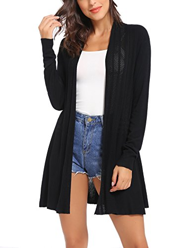 Sykooria Strickjacke Damen Langarm Komfortabel Leicht Lady Loose Fit Cardigan Basic Tops Schwarz -