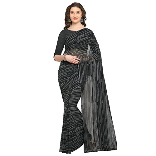 Womanista Synthetic Saree with Blouse Piece (FSP364!_Black & Grey!_One Size)