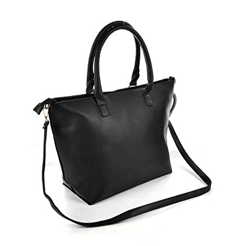 Premium Leather, Borsa a mano donna L Black with Silver