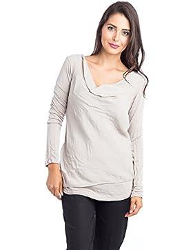 [Patrocinado]Abbino 14087 Camisas Blusas Tops para Müjer - Hecho en ITALIA - 4 Colores - Verano Otoño Invierno Femeninas Elegantes...