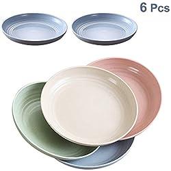 6 Assiettes Plates en Paille de blé 7.8'', et au pour Lave-Vaisselle, Salade/Gâteau/sans BPA, pour bébés Enfants, Tout-Petits, Anti-tombé (4 Couleurs)