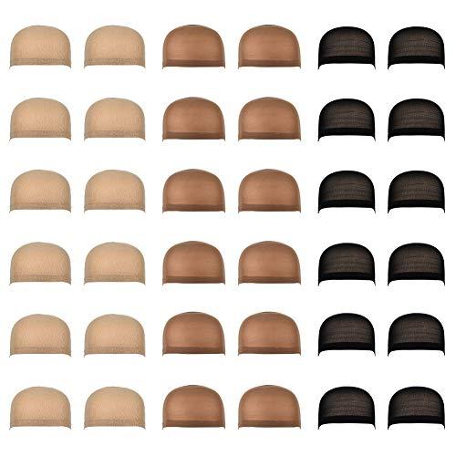Vathery 36 pezzi Nylon Parrucca Tappi Elastico Wig Caps Protezione Della Parrucca Cap Naturale Copricapo di Parrucche per Donne e Uomini 3 Colori