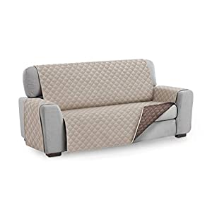 Textil-home Sesselschoner Relax MALU, 1 Sitzer – Reversibel gepolsterter Sofaschutz. Farbe Beige