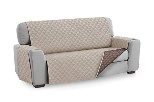 Textilhome - Funda Cubre Sofá Malu, 2 Plazas, Protector para Sofás Acolchado Reversible. Color Beige C/7