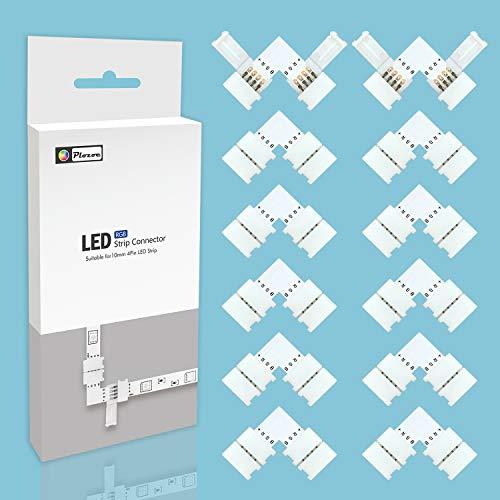 LED Eckverbinder, LED Streifen Verbinder, (12 Stück) 4 polig 10mm RGB 5050 LED Strip Verbinder, LED Lichtstreifen Band Ecke Verbinder, LED Strip Schnellverbinder Steckverbindungen, LED Connector