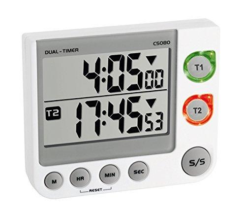 TFA 38.2025 - Avisador digital cocina 2 tiempos blanco
