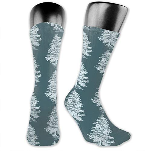 Teal And White Forest Tree Unisex Athletic Full Crew Socks Running Gym Compression Foot