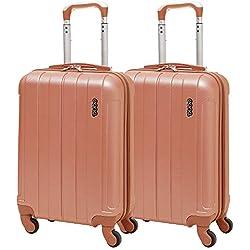 EONO Essentials ABS Bagage Cabine Bagage à Main Valise Rigide Légere à 4 Roulettes , Approuvées pour Ryanair , Easyjet , Air France , Lufthansa , Jet2 , Wizz Air et Plus , Set de 2, Or Rose