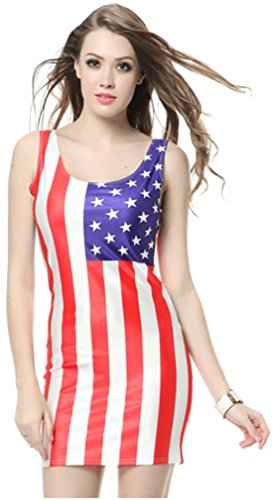 THENICE Sexy Damen Elastic Gedruckt Kleider Minikleid (Flagge Us Kleid)
