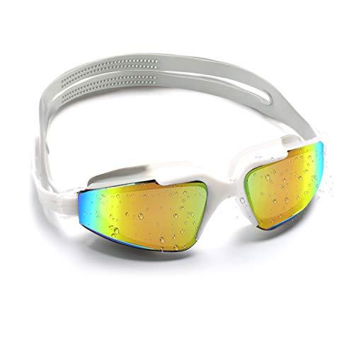 Conthfut Schwimmbrillen für Kinder Unisex Swim Schwimmbrille Antibeschlag UV Schutz Schwimmen Brille für Kinder und Teenageralter von 3 bis 15 Jahren (Weiß)