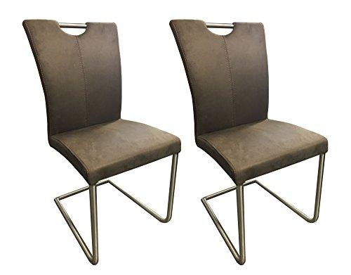 Meubletmoi Lot de 2 chaises Design de Salle à Manger Microfibre/Piétement chromé Haute qualité - Collection Sophie - Taupe
