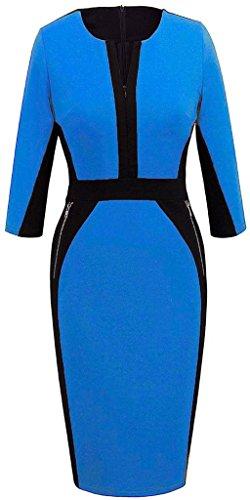 Minetom Donne Autunno Formale Maniche a 3/4 Vintage Contrasto Colore Slim Cocktail Sera Vestito Vestiti Blu