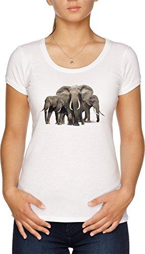 Elefantes Camiseta Mujer Blanco