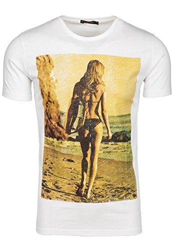 BOLF T-shirt Figurbetont Kurzarm GLO STORY 7434 Weiß XXL [3C3]  