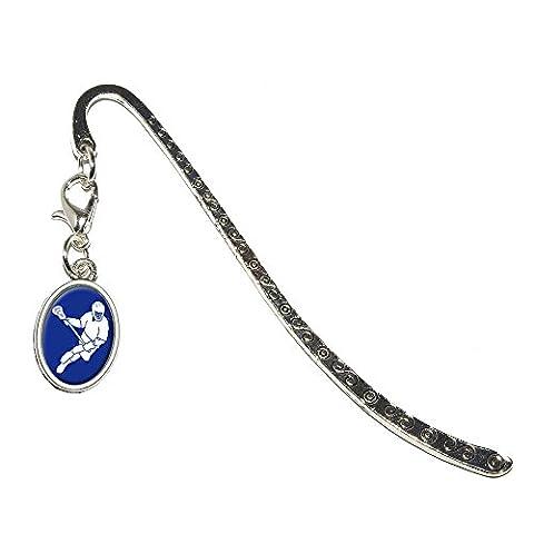 Lacrosse Sport métal Bookmark Marque-Page avec breloque ovale